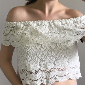 Off-Shoulder White Lace Summer Top